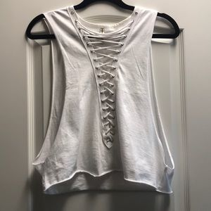 Lf emma and sam lace up crop top